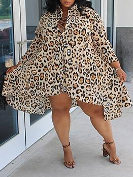 Loose Leopard Printed Plus Size Long Sleeve Dress