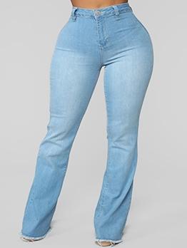 Light Blue Mid Waist Stretch Bootcut Jeans