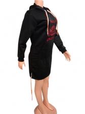 Hot Sale Print Hoodies Dress Long Sleeve