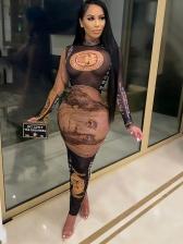 Sexy Dollar Print See Through Long Sleeve Maxi Dress