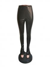 High Waist Stretch Split Hem Leather Pants