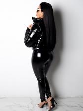 Specular PU Zipper Skinny Leather Pants