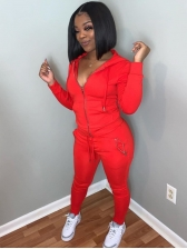 Fitted Solid Color Hooded Zipper 2 Piece Sets