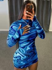 Digital Print Mock Neck Long Sleeve Short Dress