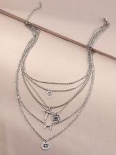 Street Hip Hop Cross Moon Pendant Necklace
