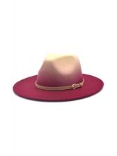 Contrast Color Woolen Unisex Fedora Hat
