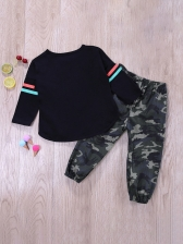 Fashion Black Print Top With Camouflage Pants