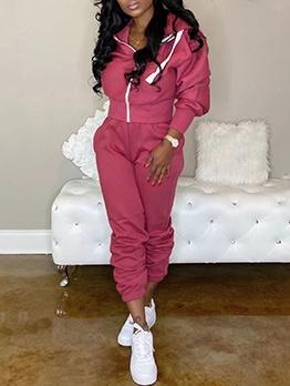 Zipper Up Hooded Sport Wear 2 Piece Outfits
