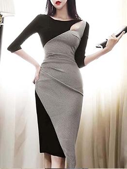 Cold Shoulder Houndstooth Knee Length Dress