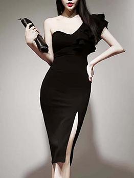 One Shoulder V Neck Sleeveless Black Women Dress