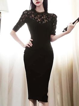Lace Patch Crew Neck Black Bodycon Dress