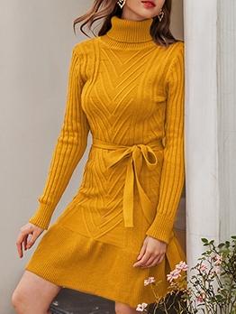 Pure Color Long Sleeve Turtleneck Sweater Dress