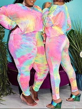 Plus Size Tie Dye Two Piece Women Set Casual