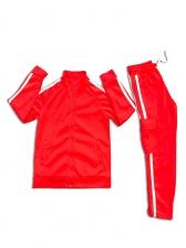 Side Stripes Stand Collar Men Workout Sets Clothing