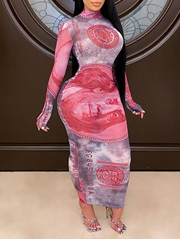 Off Register Dollar Print Mock Neck See Through Gauze Maxi Dress