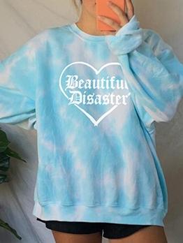 Stylish Long Sleeve Heart Letter Sweatshirts For Women