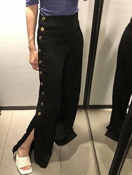 Fall Button High Waist Wide Leg Pants