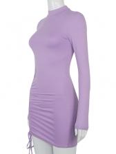 Mock Neck Drawstring Women Bodycon Dress