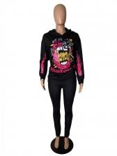Fashion Print Long Sleeve Black Two Piece Women Sets