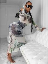 Off Register Dollar Print Mock Neck See Through Gauze Maxi Dress