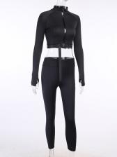 Mock Neck Zipper Long Sleeve Black Tracksuit