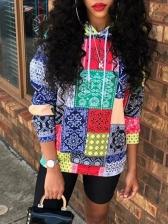 Color Block Long Sleeve Hoodies For Women
