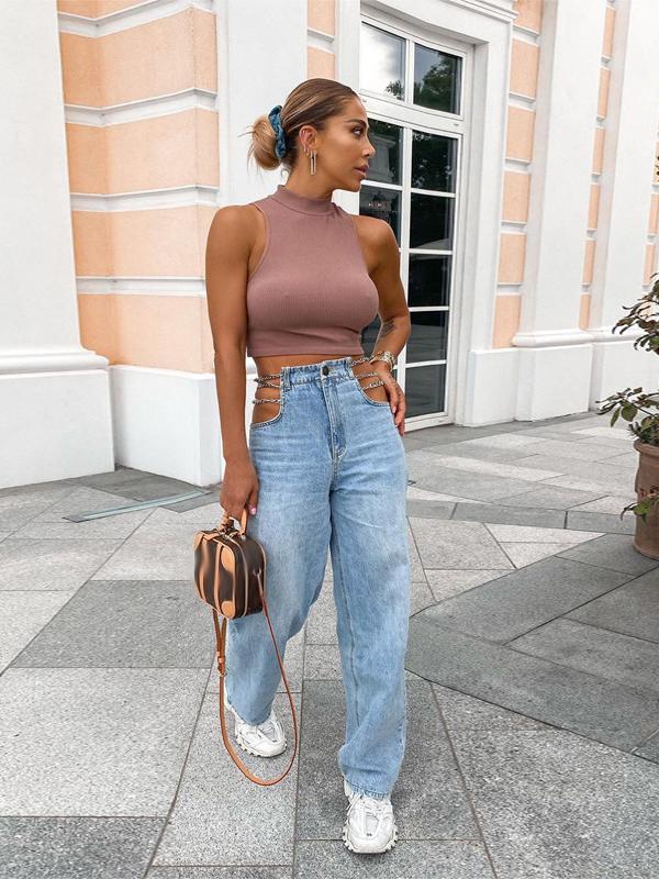 Chain Decor Straight High Waisted Jeans