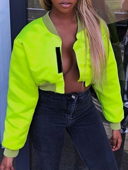 Stand Neck Fluorescent Green Short Jacket For Women
