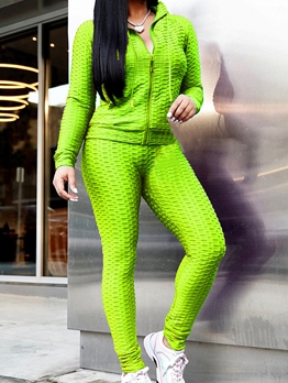 Solid Color Hooded Zipper Up Ladies Tracksuits