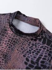 Sexy Snake Print Backless Long Sleeve Bodycon Dress