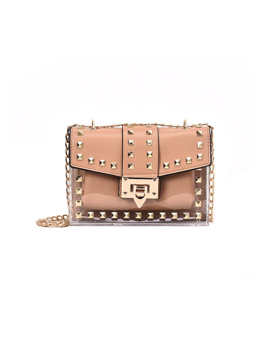 Metal Hasp Square Transparent Shoulder Bag