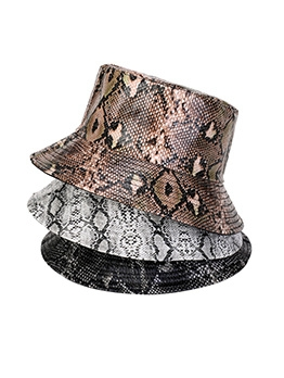 Pu Snake Printed Reversible Fisherman Cap