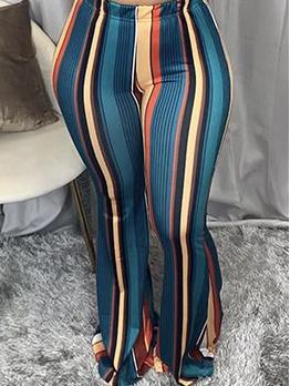 Fashion Casual Striped Bootcut Long Pants