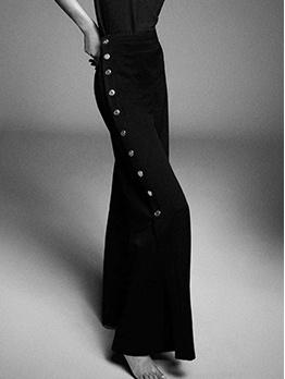 Casual Broadside Button Black Wide-Legged Pants
