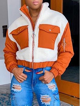 Stand Collar Lambswool Color Block Winter Coats