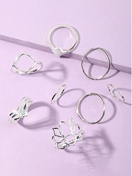 Simple Geometry Silvery Women Ring Set