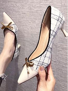 Fashion Plaid Patchwork Bow High Heels