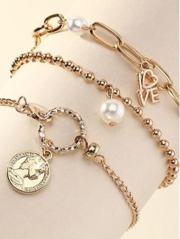 Faux-Pearl Three Pieces Bracelet Sets
