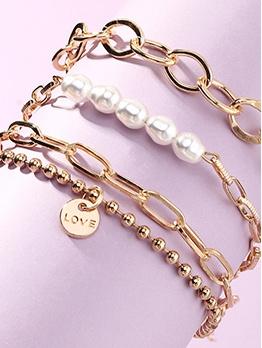 Fashion Simple Faux-Pearl Bracelet Set