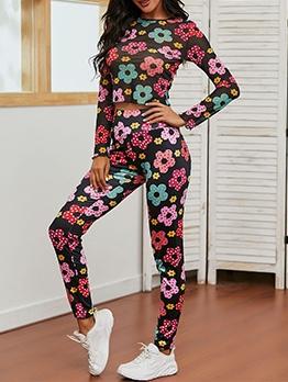 Crew Neck Flower Printed Yoga Clothes