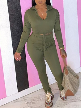 V Neck Hooded Skinny Two Piece Outfits