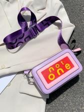 Candy Color Letter Print Wide Belt Square Bag