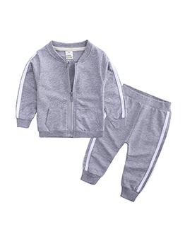 Stand Neck Long Sleeve Litter Kids Jacket Sets