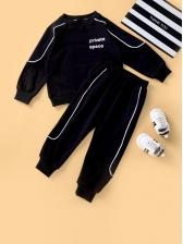 Fashion Letter Crew Neck Sweatshirt Sets For Little Kids