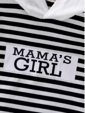 Striped Hooded Collar Long Sleeve Tee Shirt For Kids