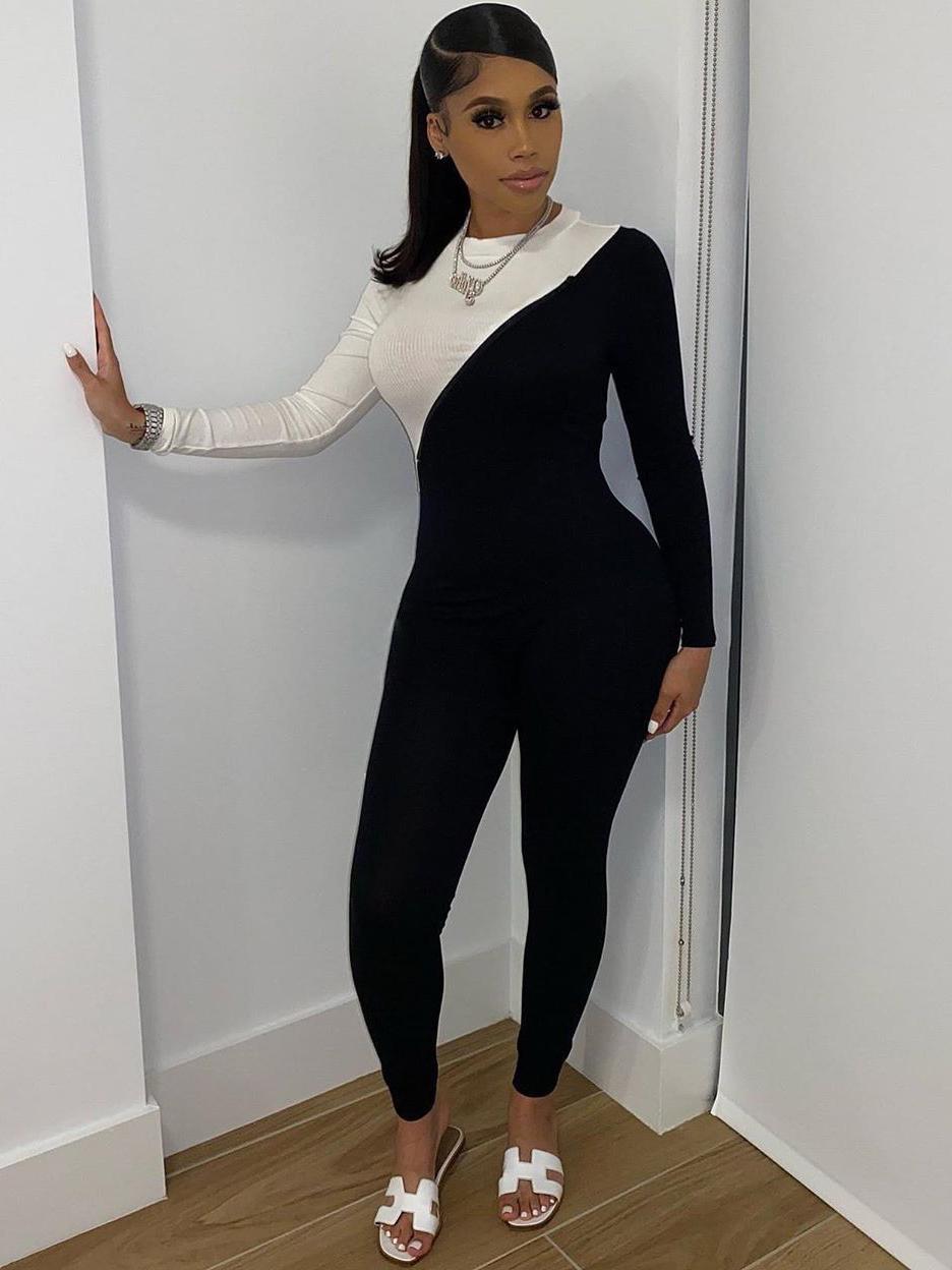 Black Patchwork White Women Tight Jumpsuit
