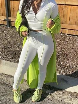 Half Zipper Sport Wear Fall 2 Piece Pants Set