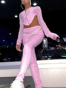 U Neck Irregular Hem Long Sleeve Women Outfits