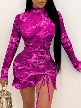 High Neck Drawstring Print See Through Dress