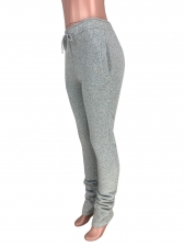 Pure Color Drawstring Stacked Pants For Women